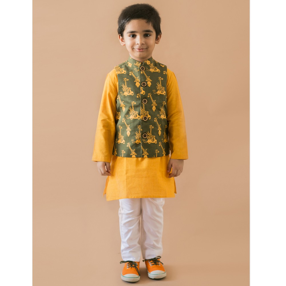 3 Pc Olive Jungle Print Nehru Jacket Kurta Set