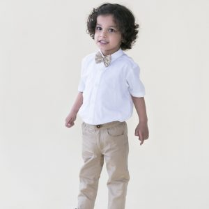 Beige Trouser With Bow Tie