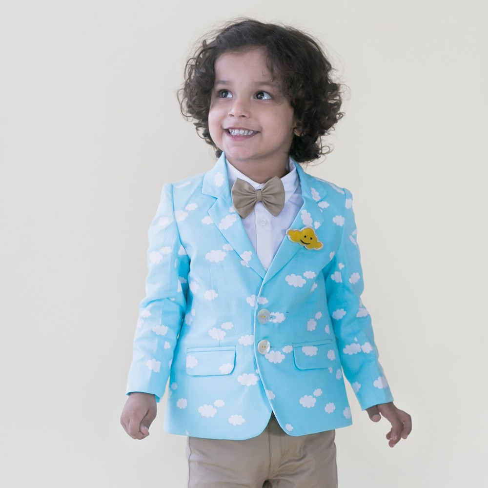 Blue Cloud Print Blazer