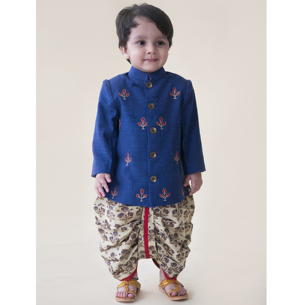 Denim Buta Infant Bandhgala Dhoti Set