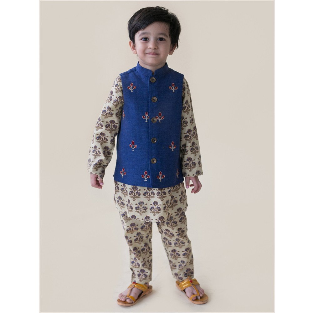 Denim Buta Nehru Jacket Kurta Set