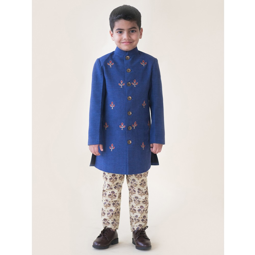 Denim Buta Sherwani Set