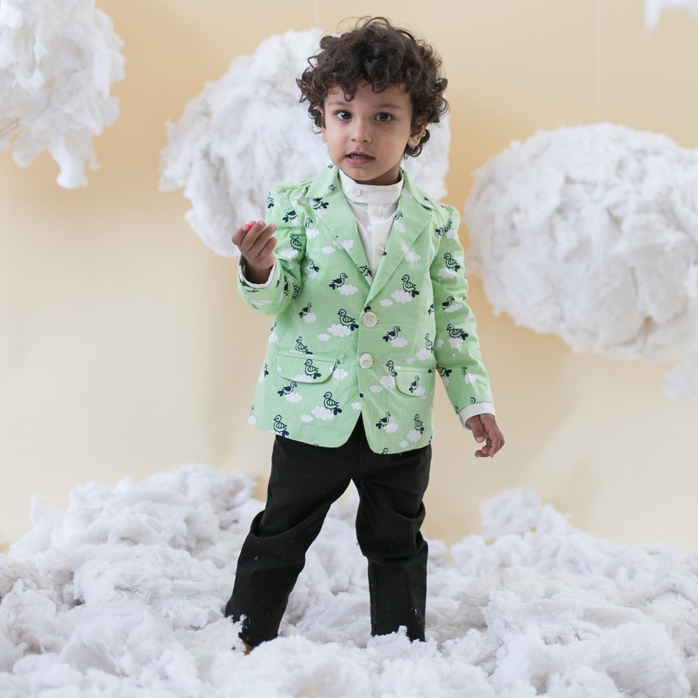Green Bird Cloud Blazer