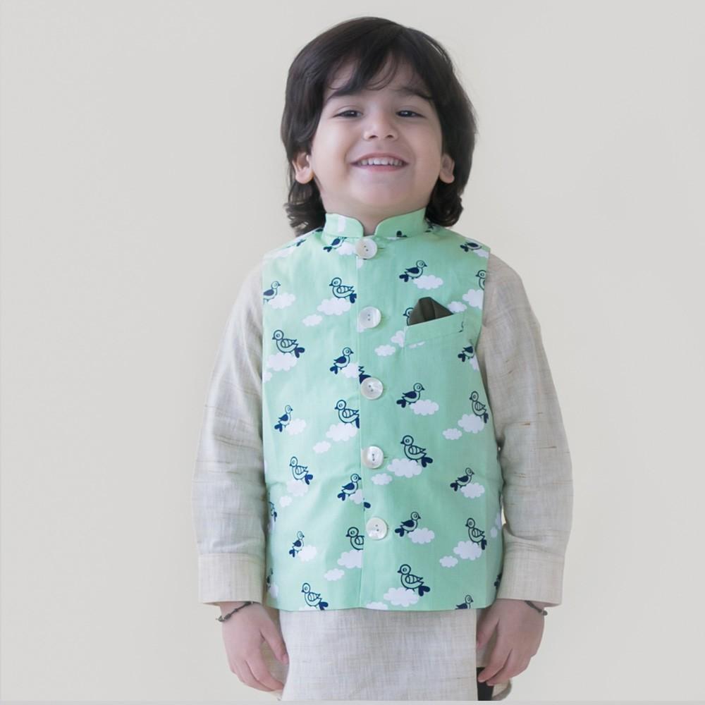 Green Bird Cloud Nehru Jacket