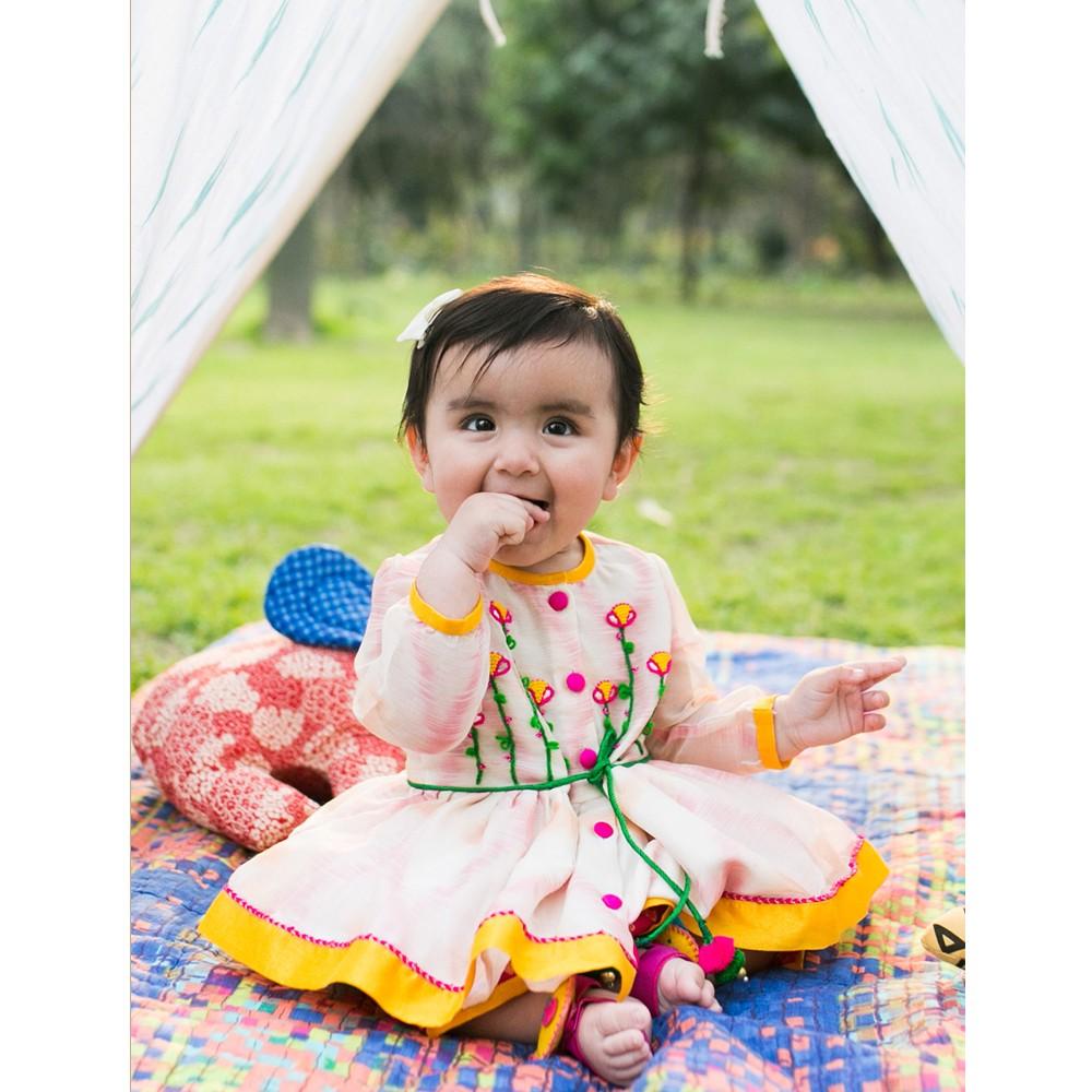 Infant Girl Ikat Pink Angrakha Dhoti Set