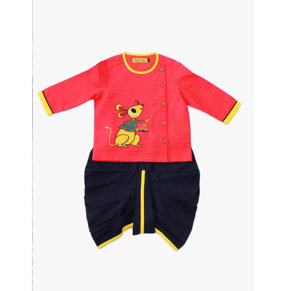 Orange Mouse Cotton Kurta Dhoti Infant Boy Set