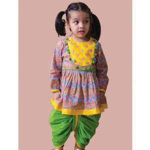 Phulwari Gota Heart Angrakha Infant Girl Set