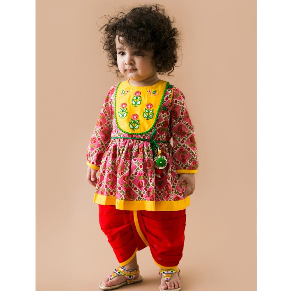 Phulwari Gulabo Bird Angrakha Dhoti Infant Girl Set