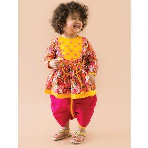 Phulwari Heartbeat Pink Angrakha Dhoti Infant Girl Set