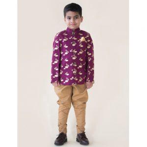Purple Bird Bandhgala Jacket