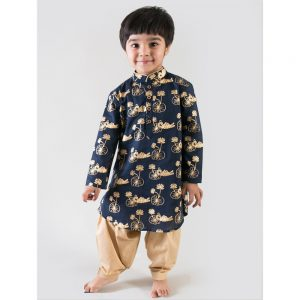 The Bengal Tiger Print Blue Kurta Set