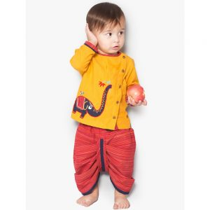 Yellow Elephant Dhoti Kurta Set