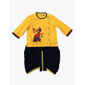 Yellow Mouse Cotton Kurta Dhoti Infant Boy Set