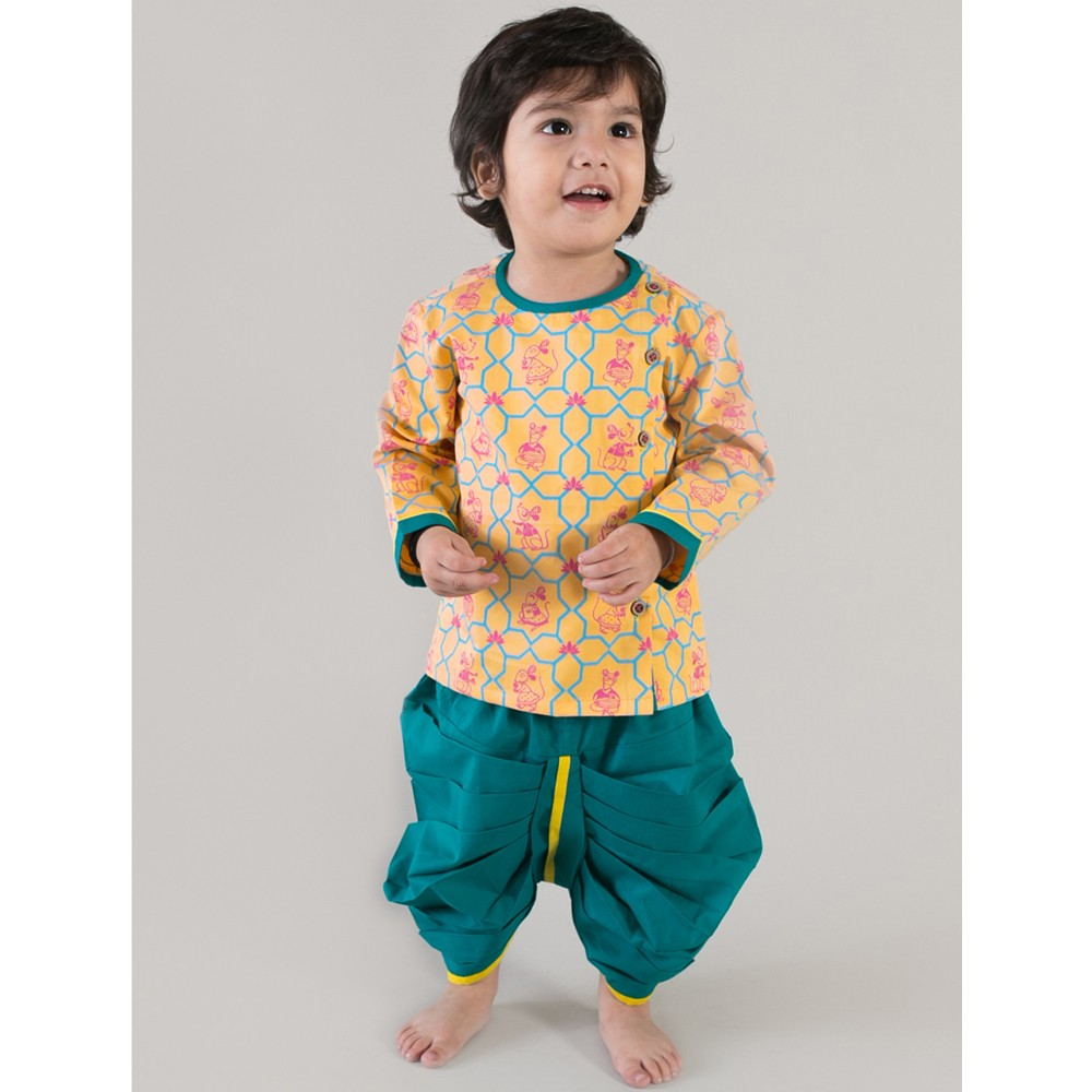 Yellow Mouse Print Kurta Dhoti Set
