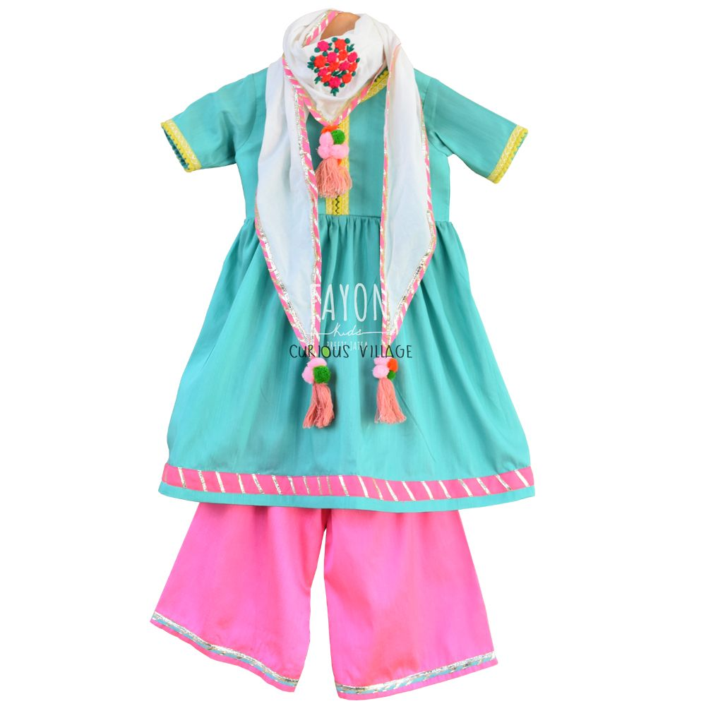 ACQUA GREEN ANARKALI DRESS WITH SRAIGHT PANT AND SCARF