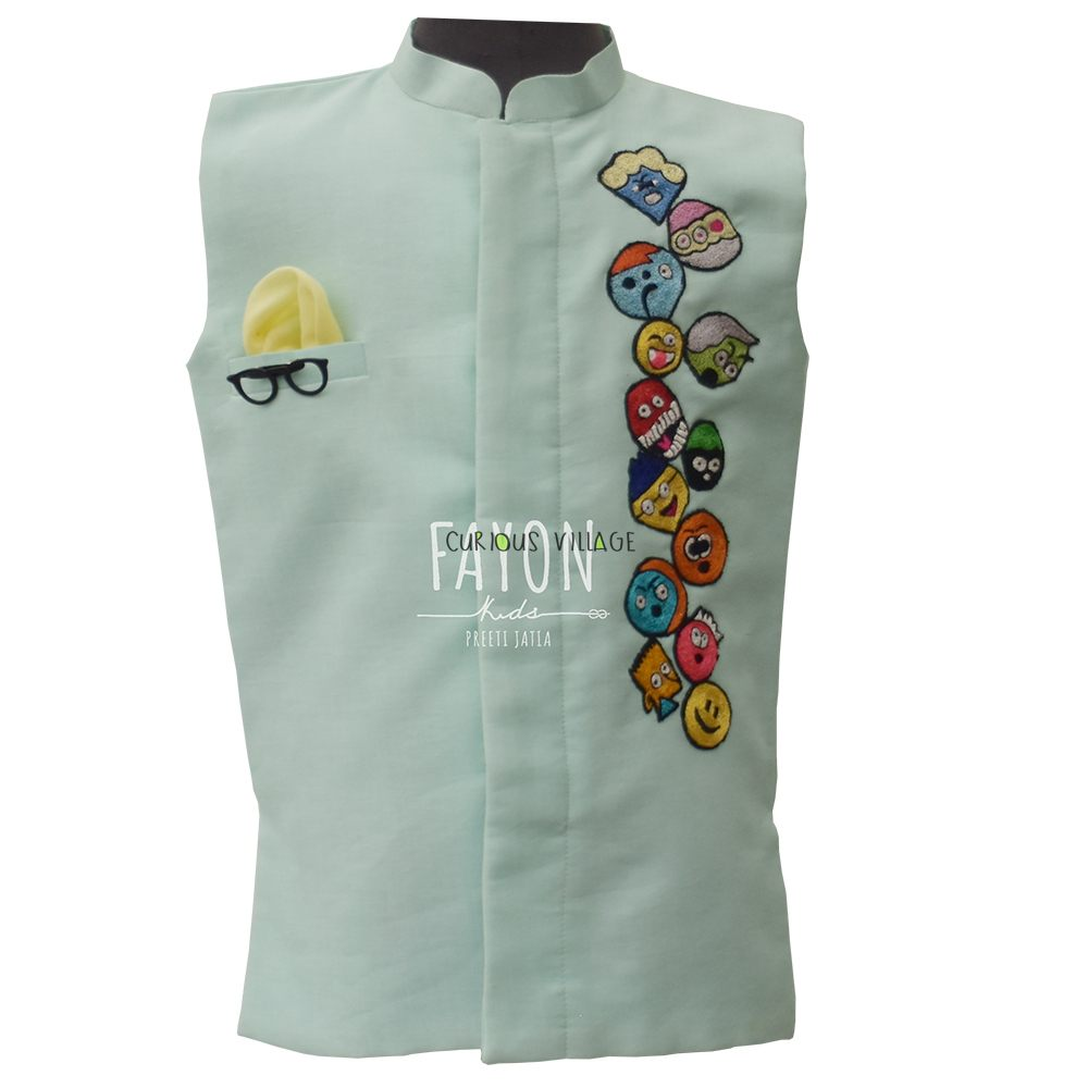 Acqua Green Nehru Jacket with Patches