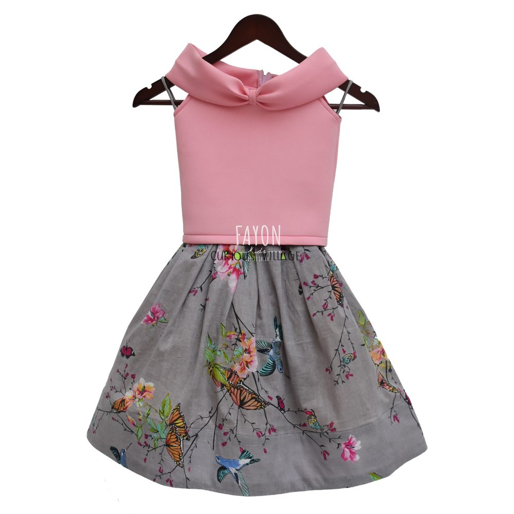 2ae9b7ee3 BABY PINK LYCRA TOP WITH GREY PRINTED SKIRT - Curious Village