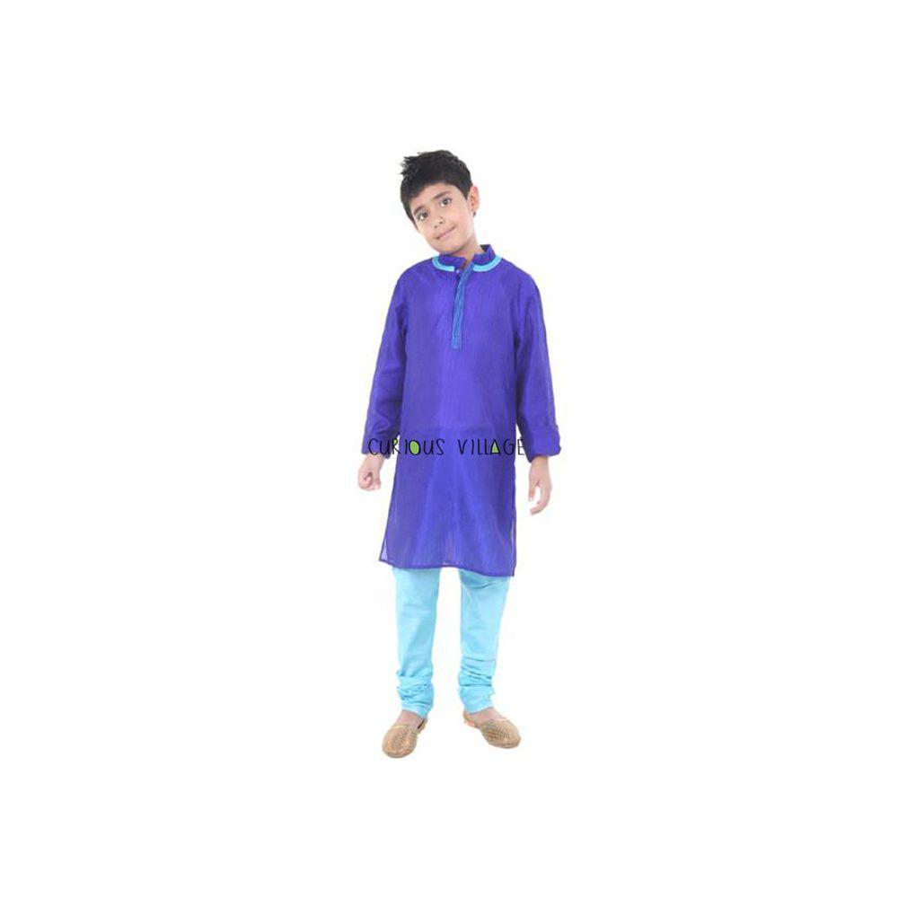 Blue Silk Kurta Churidar Set