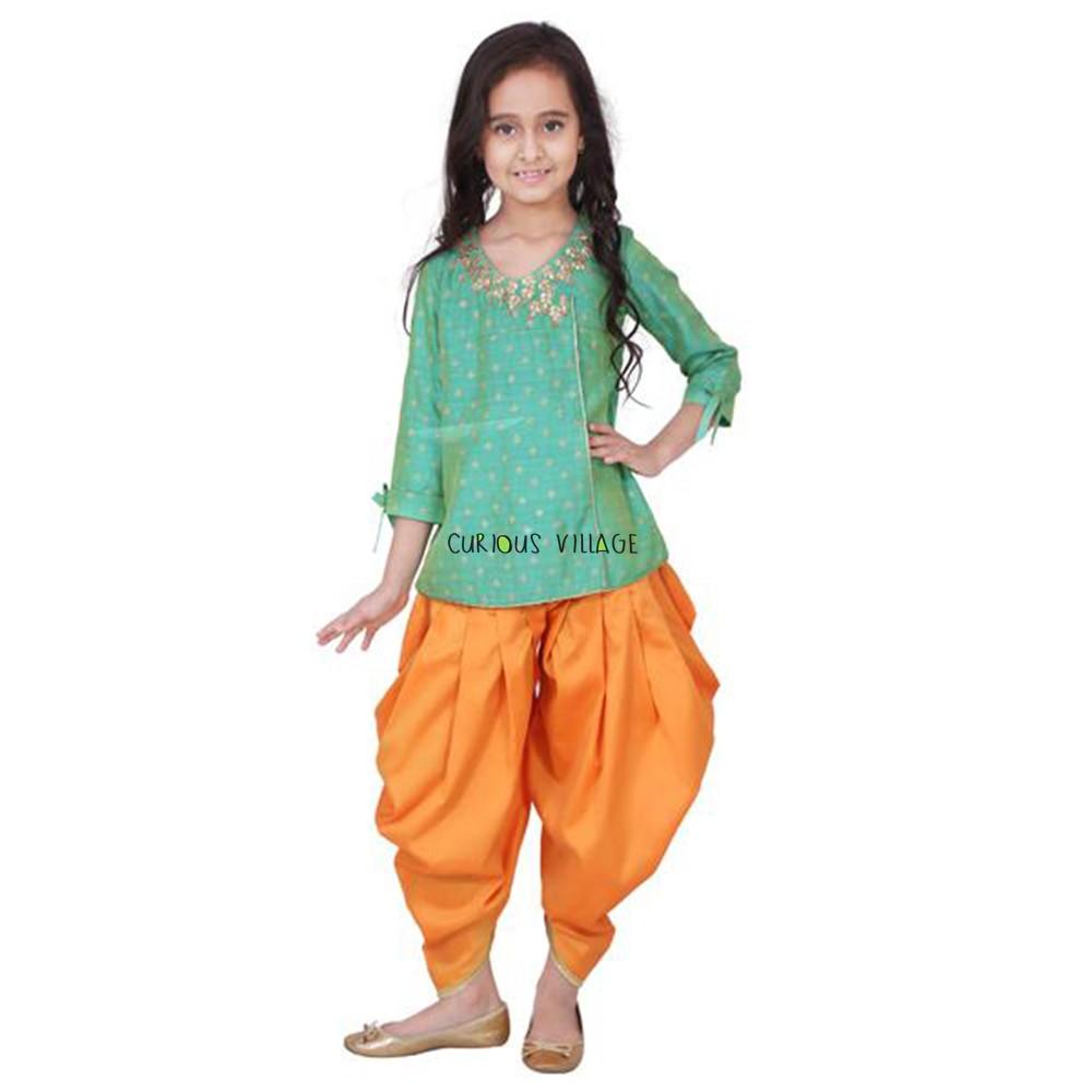 INDO WESTERN GREEN ANGRAKHA SHIRT DHOTI PANTS