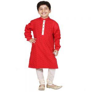 Cutwork cotton Red kurta set