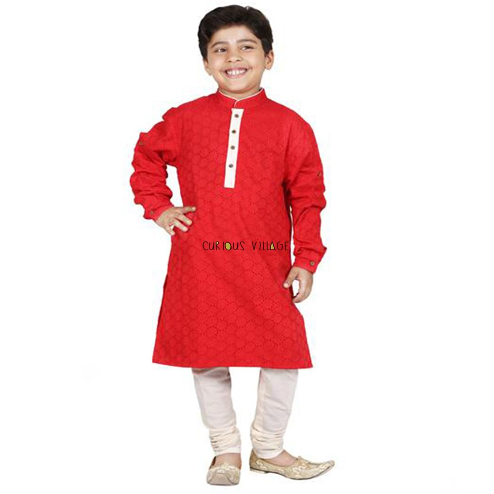 Cutwork cotton Red kurta set