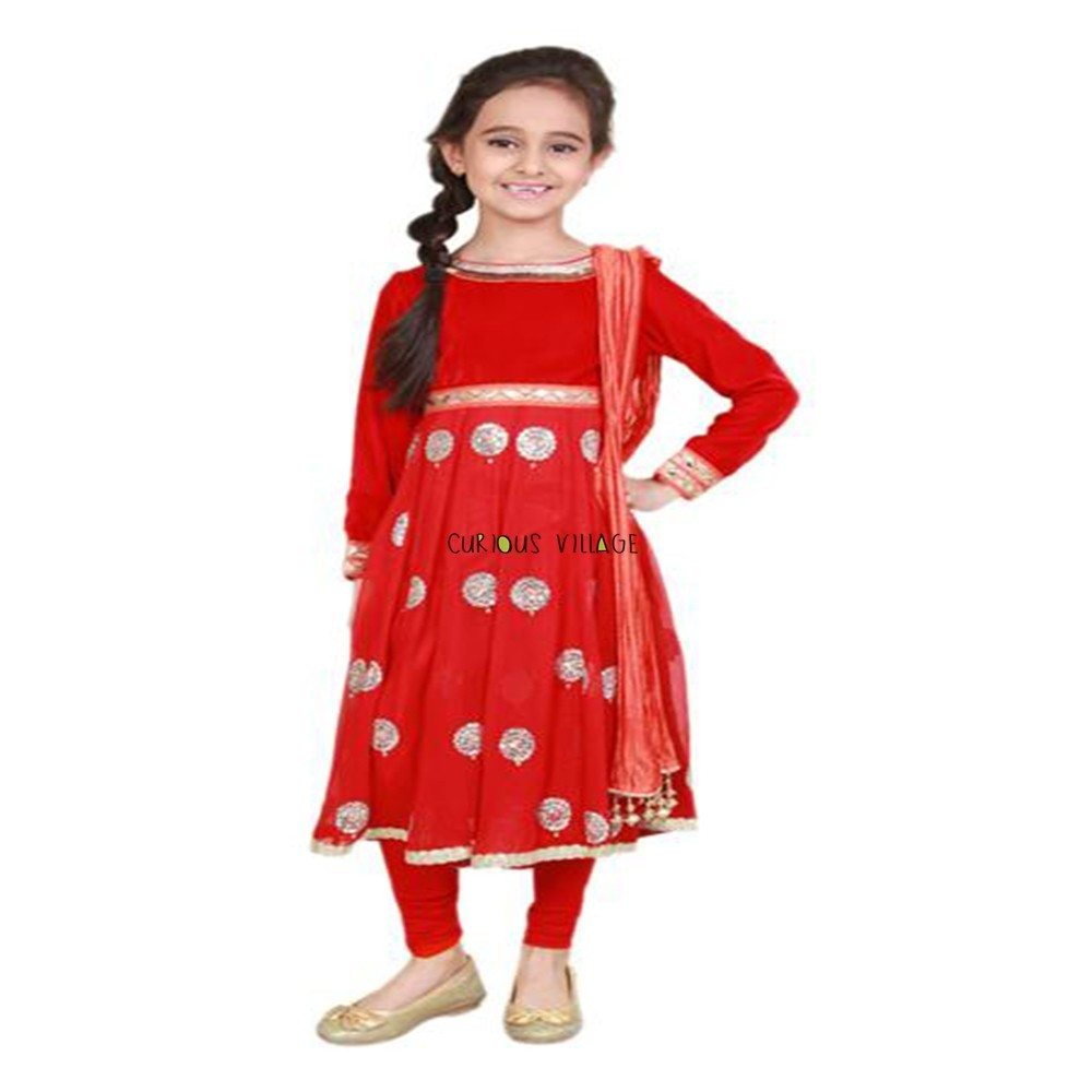 Embroidered red anarakali suit