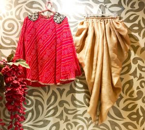 Embroidered Bandhej Cape Dhoti Pants
