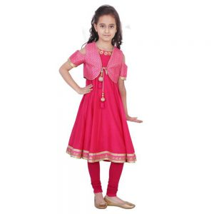FUSCHIA CHANDERI JACKET SUIT