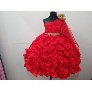 Red Silk Tucks Dress Dupatta Drape