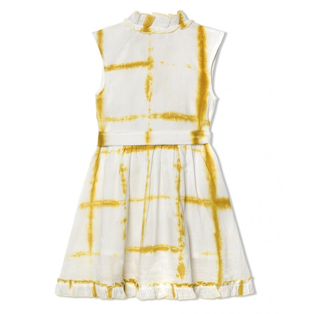 WHITE MARIGOLD YELLOW GARIMA DRESS
