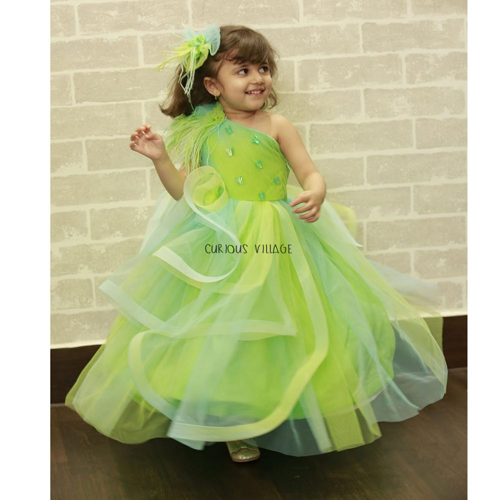 Green-Blue Shaded Feather Gown