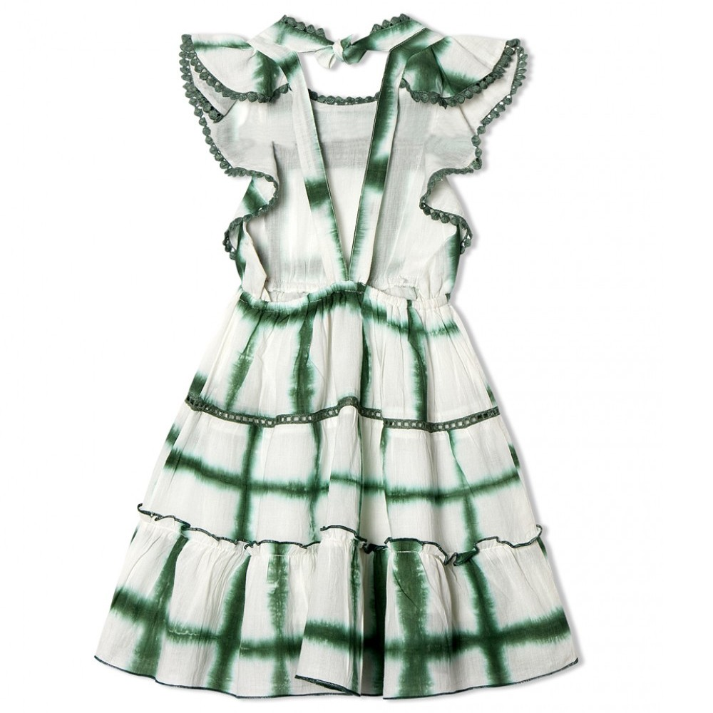 HARLEEN DRESS WHITE W EMERALD GREEN Copy
