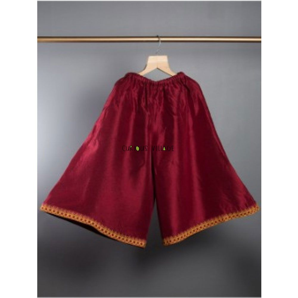 Hand embroidered silk palazzo (Wine Red)