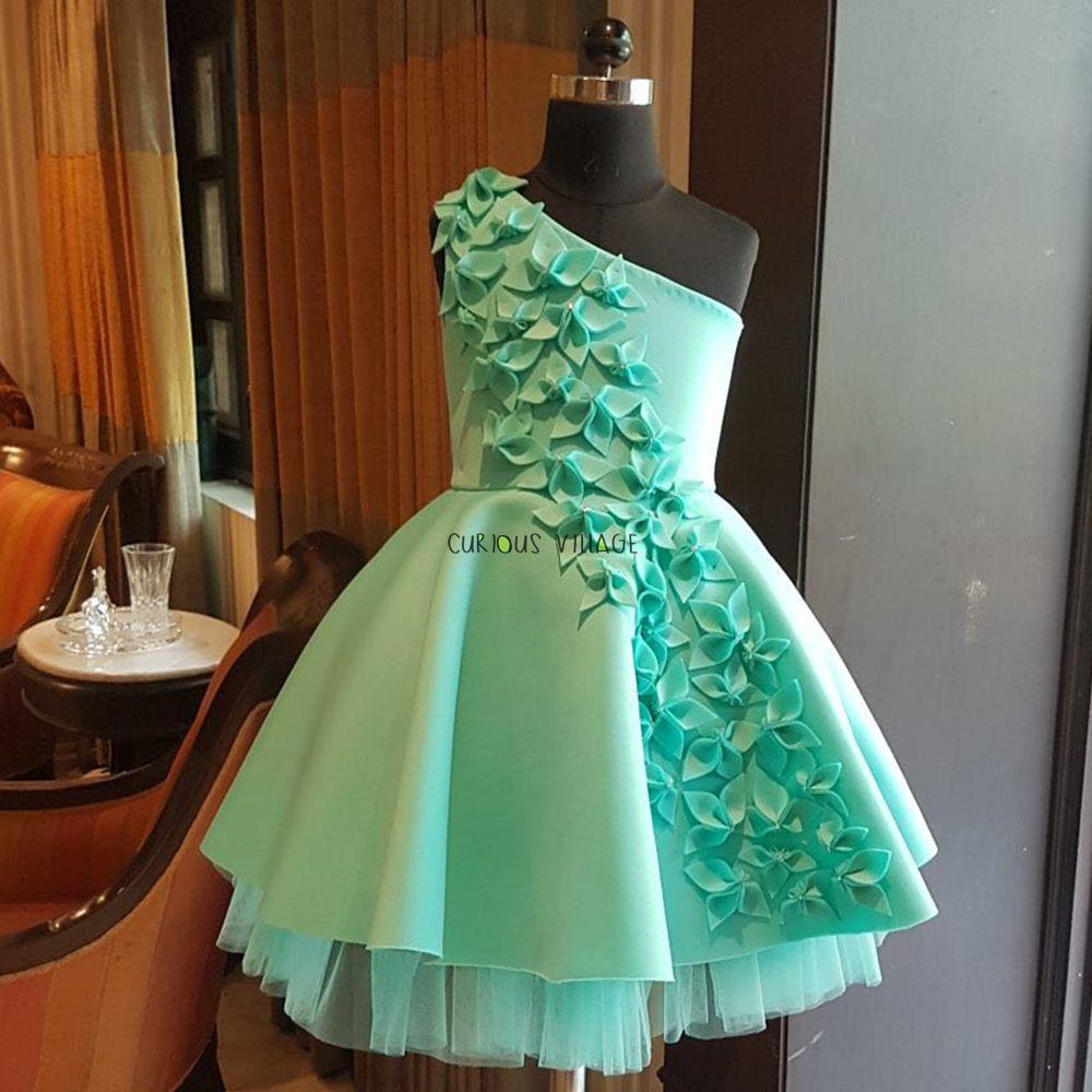 Green blooming flower dress
