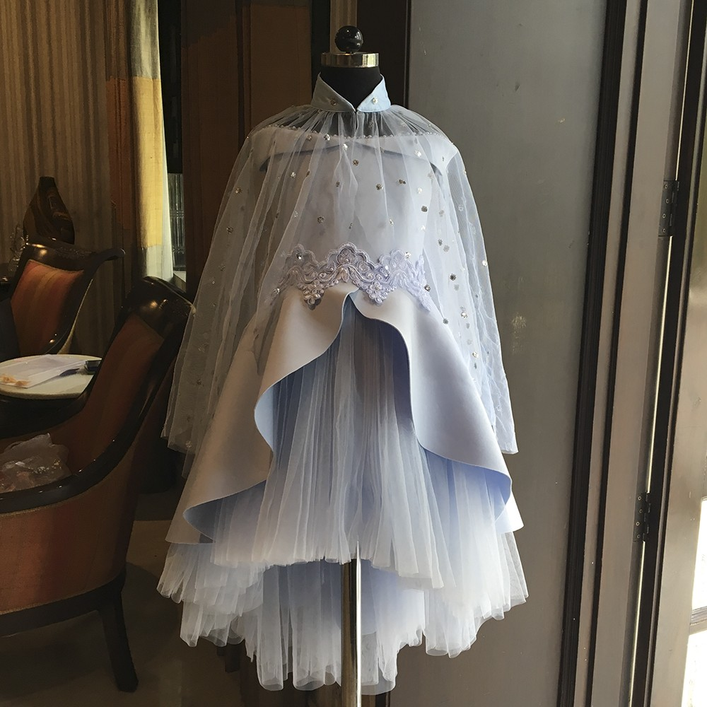 Ice blue Frozen off shoulder short long gown cape