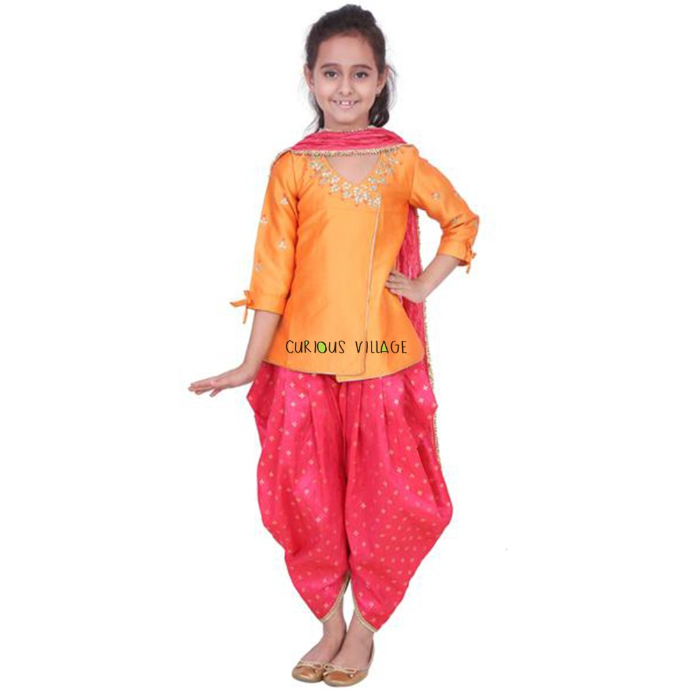 INDO WESTERN ORANGE ANGRAKHA SHIRT DHOTI PANTS