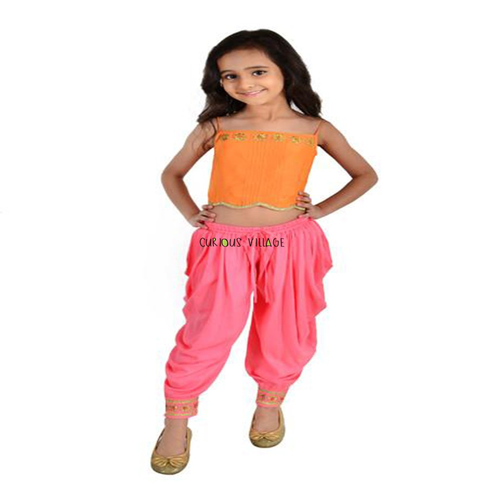 INDO WESTERN ORANGE TOP PINK DHOTI SET