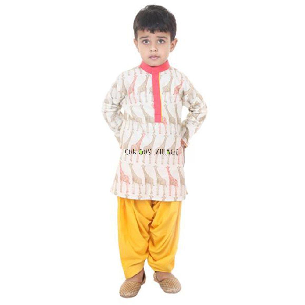 Ivory Red Printed Kurta Yellow Salwar