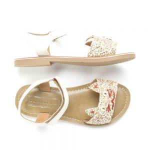 Kitty glitter white gold sandals