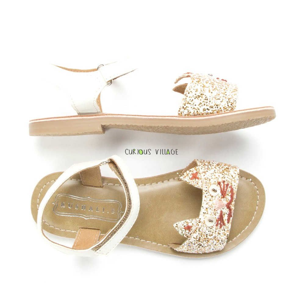Kitty glitter white gold sandals