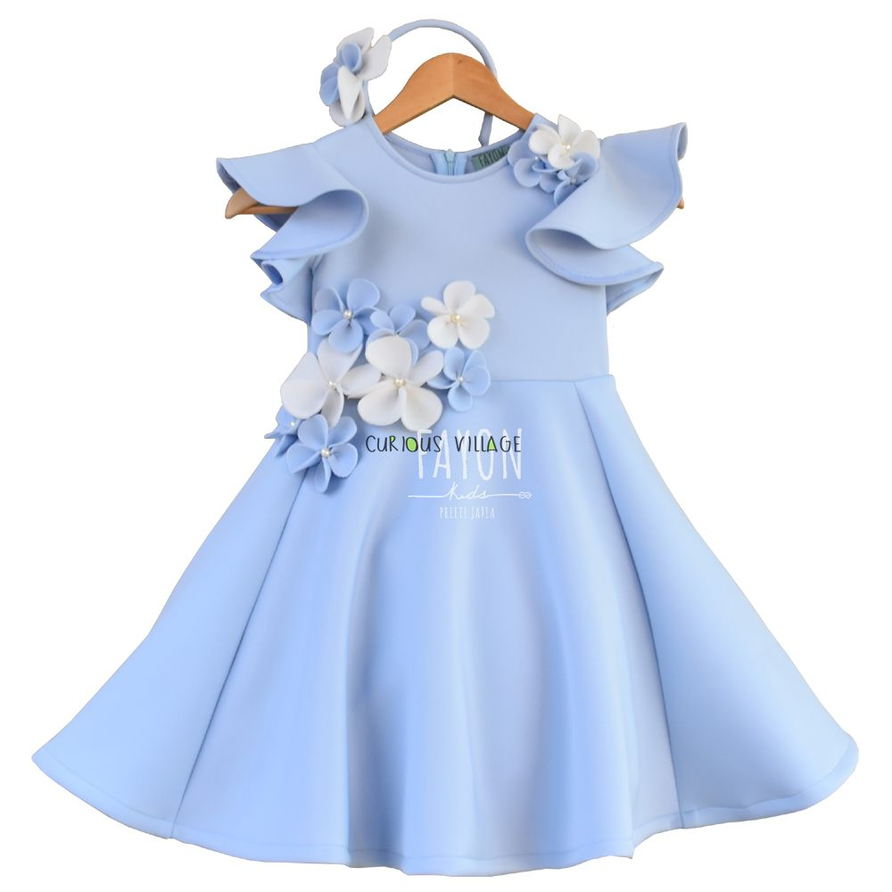 Light blue lycra dress with white and blue flower curious village dress with white and blue flower click izmirmasajfo