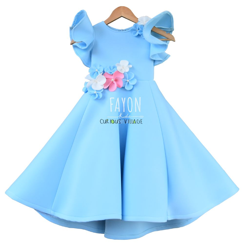 Light Blue Lycra Dress With White Pink And Blue Flower Curious Village
