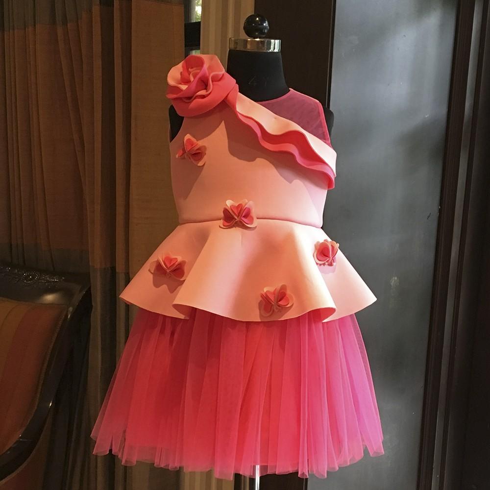 Lotus pink fuchsia ruffle shoulder rose peplum dress