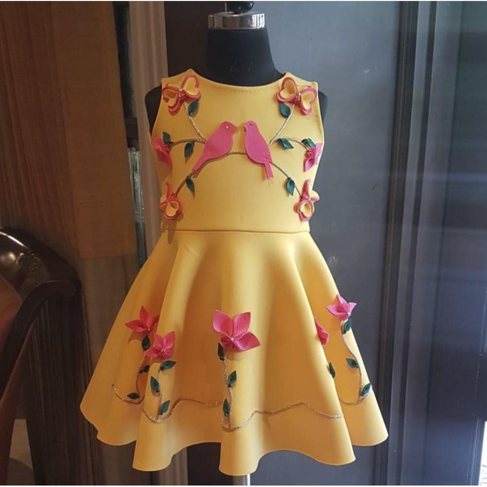 Mango yellow mughal garden dress
