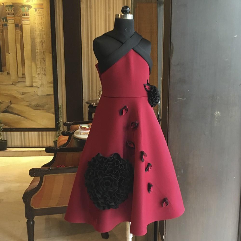 Maroon Black rose Bandage neck mid calf dress
