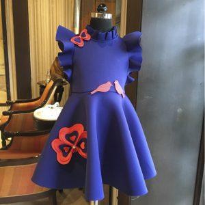Midnight blue Raspberry Pansy flower dress