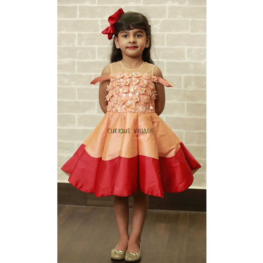 Peach-Red CU Cut Frock