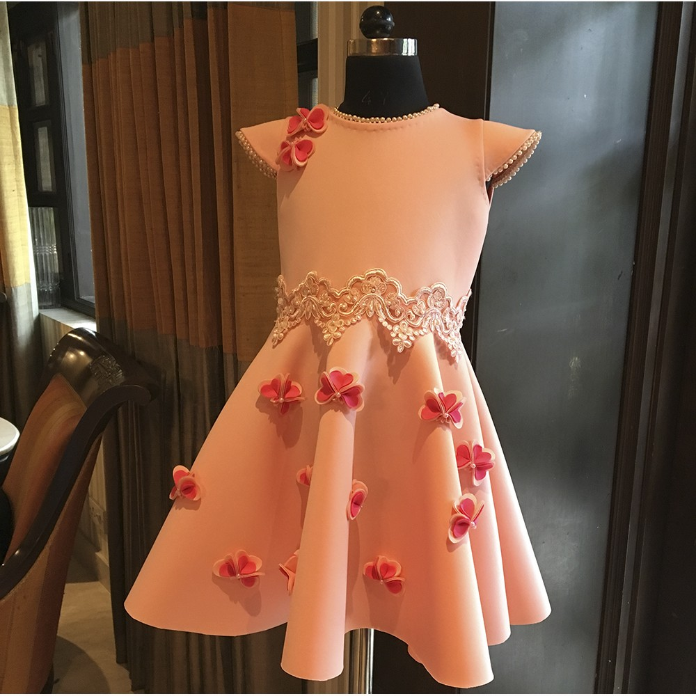 Peach fuchsia pink heart flower lace dress