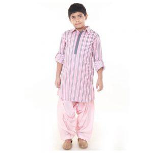 Pink Grey pathani set