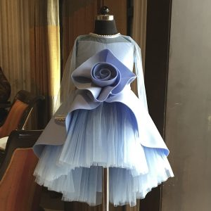 Powder Blue short long big rose gown